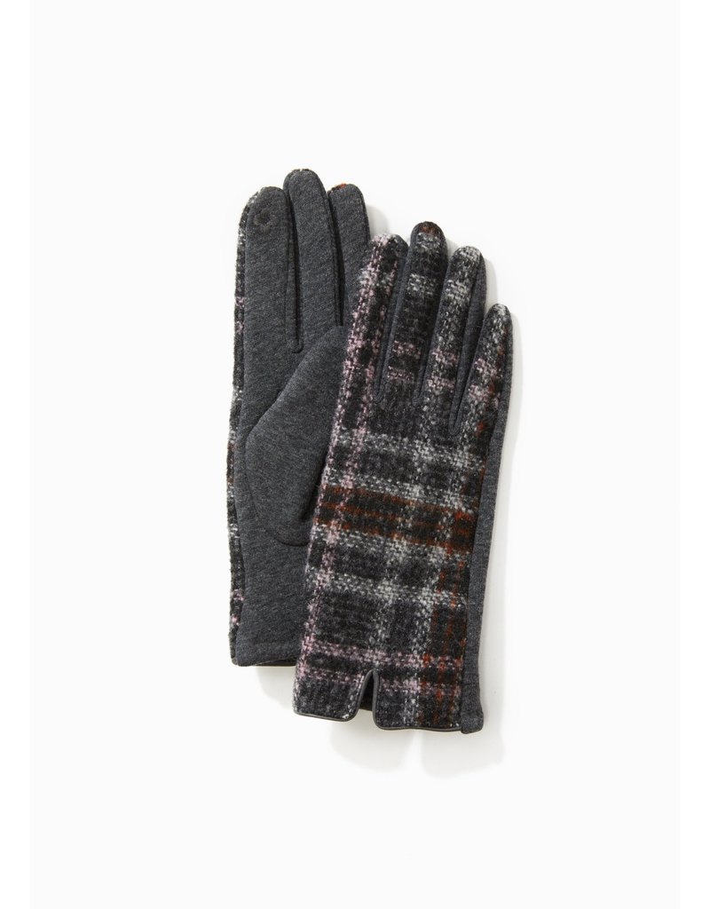 Look By M Grey Tweed Plaid Gloves