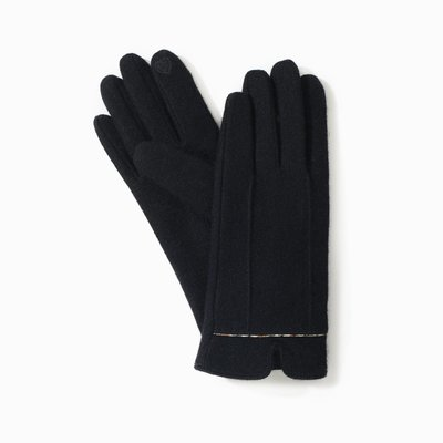 Look By M Classic Black Trim Heather Gloves