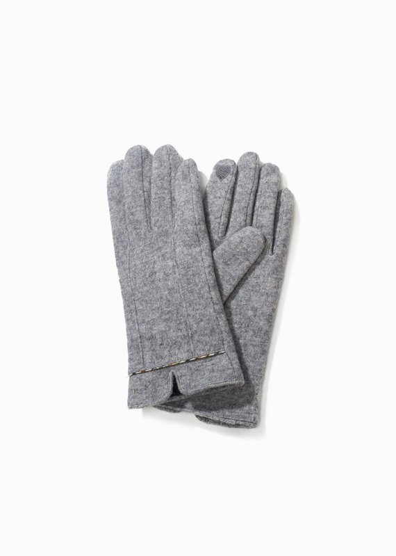 Look By M Classic Grey Trim Heather Gloves