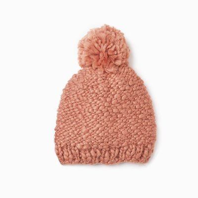 Look By M Basic Mango Indi Peach Yarn Pom Pom Hat