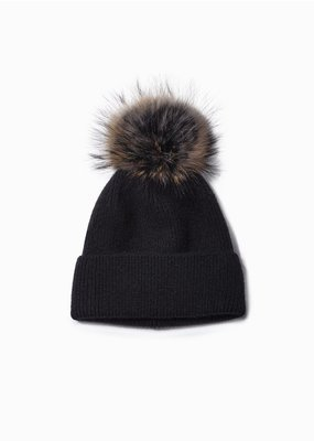Look By M Black Cashmere Blended Ribbed Knit Pom Pom Beanie