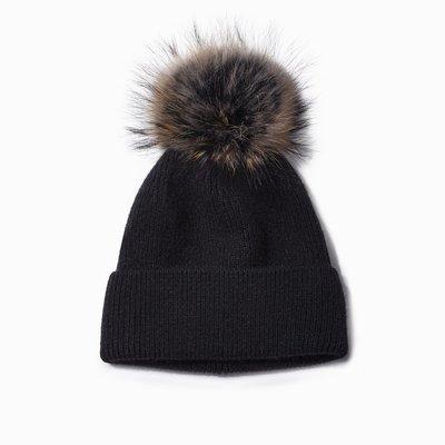 Look By M Black Cashmere Blended Ribbed Knit Pom Pom Beanie
