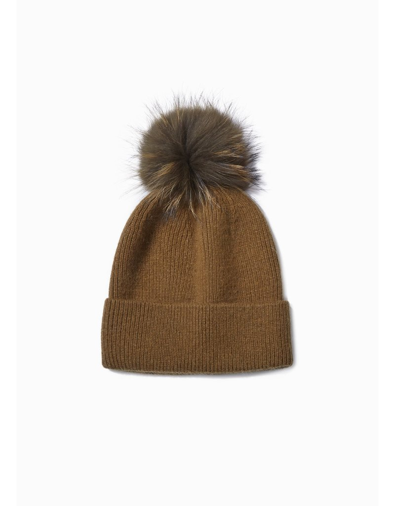 Look By M Olive Cashmere Blended Ribbed Knit Pom Pom Beanie