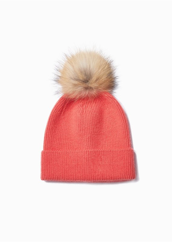 Look By M Coral Cashmere Blended Ribbed Knit Pom Pom Beanie