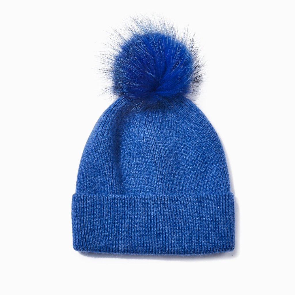 Look By M Blue Cashmere Blended Ribbed Knit Pom Pom Beanie