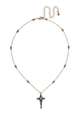 Sorrelli Delicate Cross Pendant Necklace in Wildflower