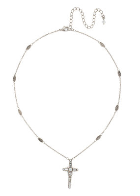 Sorrelli White Bridal Delicate Cross Pendant Necklace