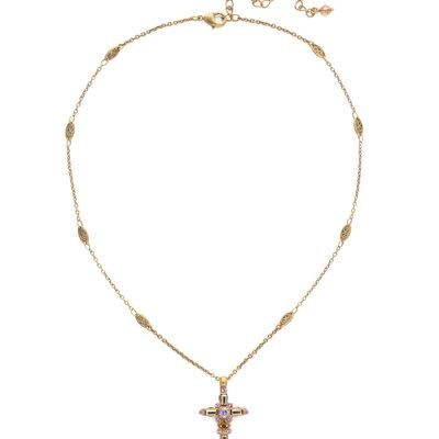 Sorrelli Delicate Sliding Cross Pendant Necklace in Beach Comber