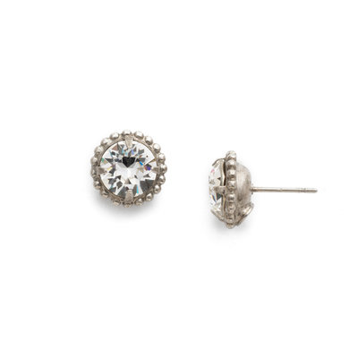 Sorrelli Antique Silver Simplicity Stud Earring in Clear Crystal