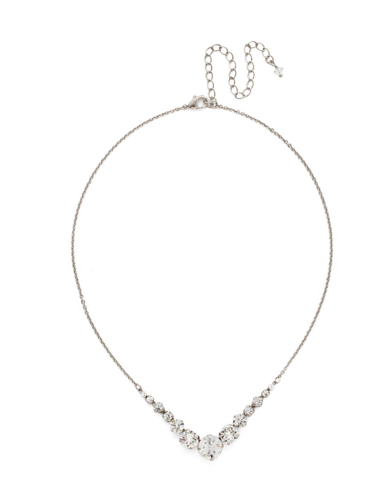 Sorrelli Delicate Round Crystal Necklace in Clear Crystal
