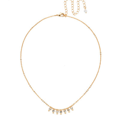 Sorrelli Bright Gold Delicate Dots Necklace in Clear Crystal