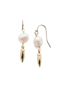 Sorrelli Mixed Metal Modern Pearl French Wire Earring