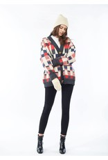 Look By M Multi Colored Chess Cardigan Charcoal