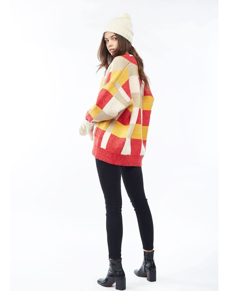 Look By M Red Check Sweater