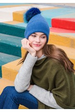 Look By M Light Grey Cashmere Blended Ribbed Knit Pom Pom Beanie