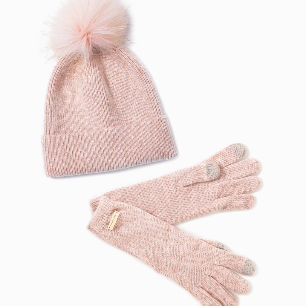 Look By M Blush Cashmere Blended Ribbed Knit Pom Pom Beanie