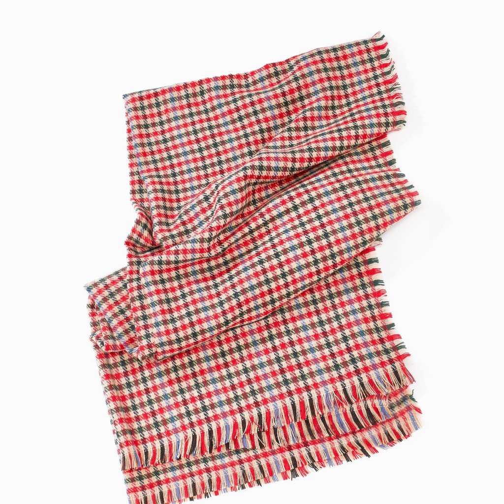 Look By M Red Lollipop Plaid Scarf