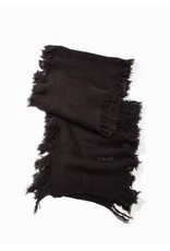 Look By M Charcoal Cashmere Blended Fringe Scarf