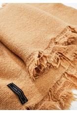 Look By M Camel Cashmere Blended Fringe Scarf