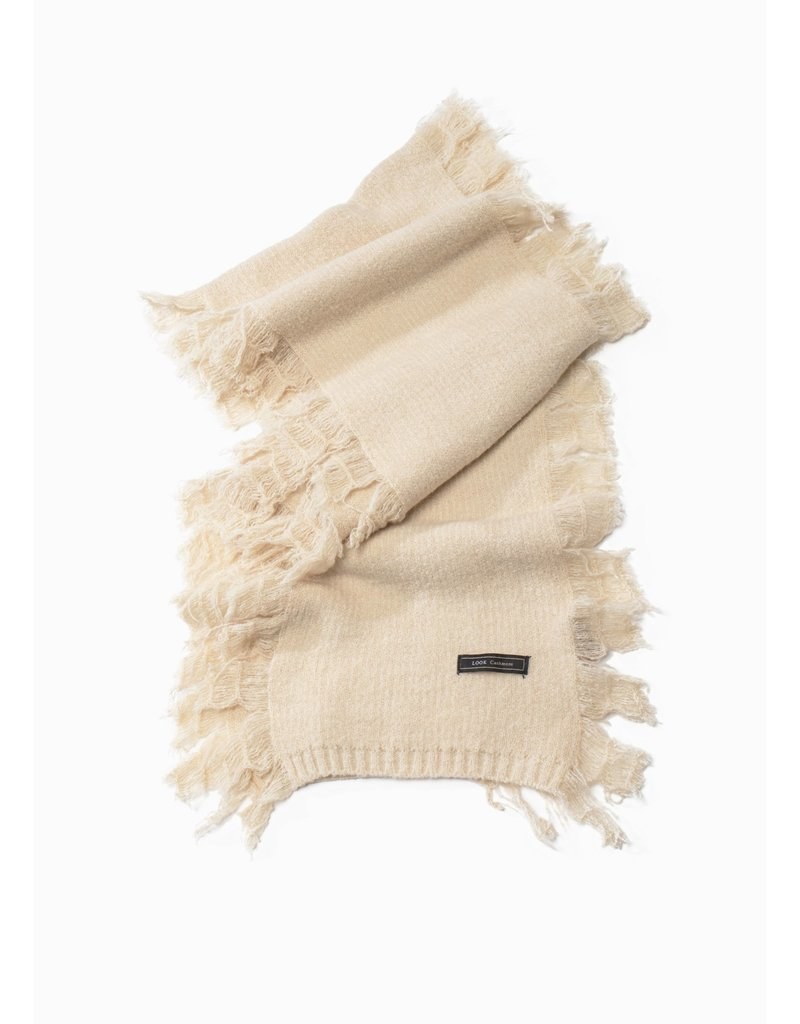 Look By M Ivory Cashmere Blended Fringe Scarf