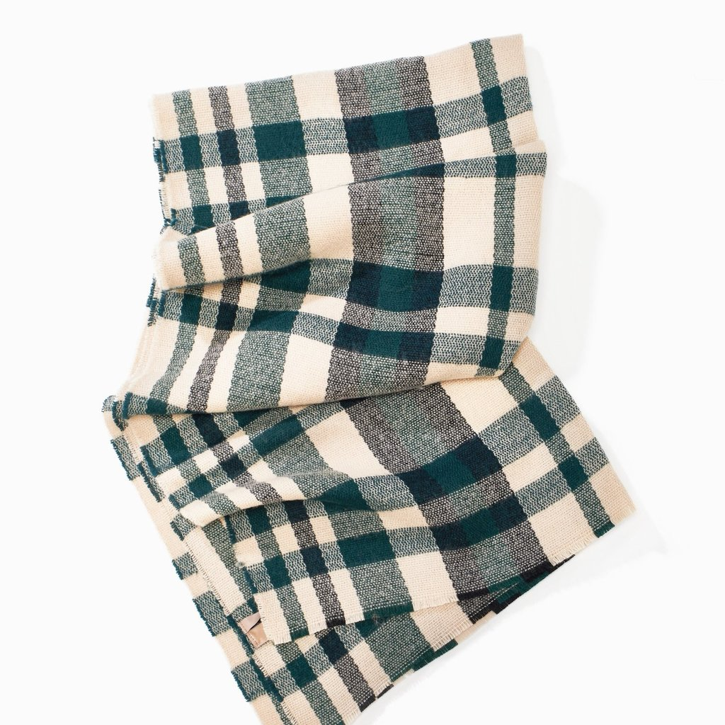 Look By M Hunter Green Loft Chunky Plaid Scarf