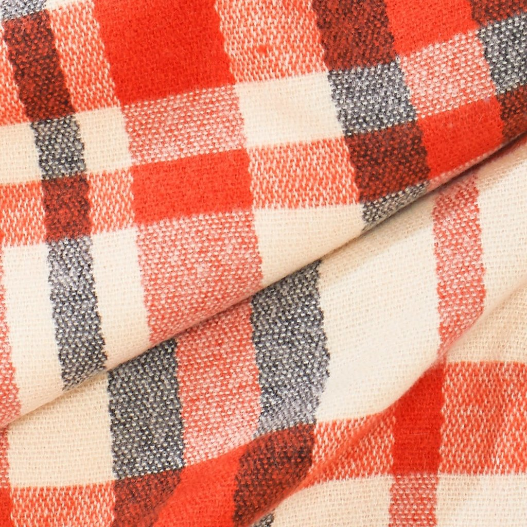 Look By M Orange Loft Chunky Plaid Scarf