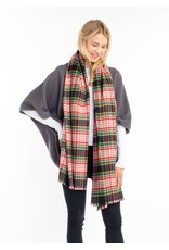 Look By M Black Vivid Plaid Scarf