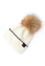 C.C. CC Ivory Whipstitched Cuff Hat With Fur Pom