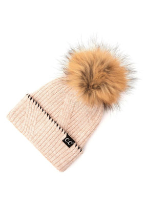 C.C. CC Rose Whipstitched Cuff Hat With Fur Pom