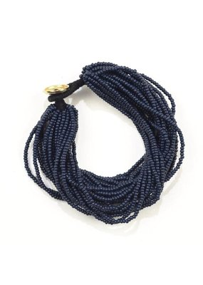 Ink + Alloy Navy Blue Seed Bead Multi-Layer Bracelet