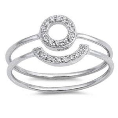 Sterling Silver Open Circle CZ Ring