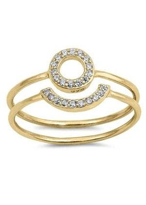 Sterling Silver Open Circle Gold CZ Ring