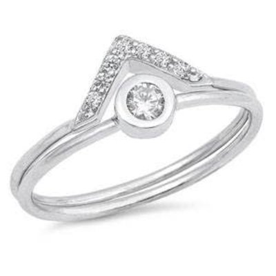 Sterling Silver Solitaire V CZ Ring