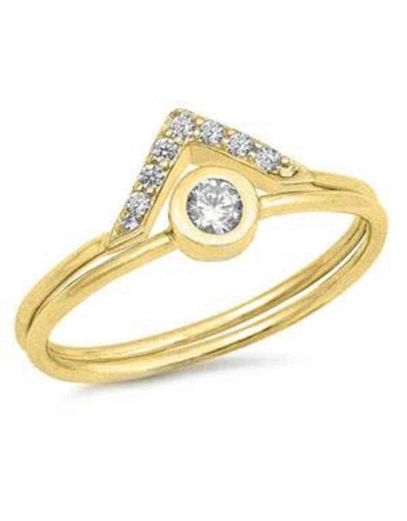 Sterling Silver Solitaire V Gold Ring