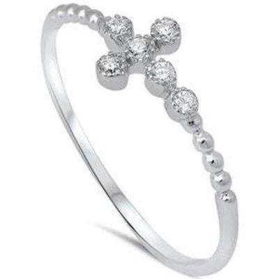 Sterling Silver CZ Cross Ring
