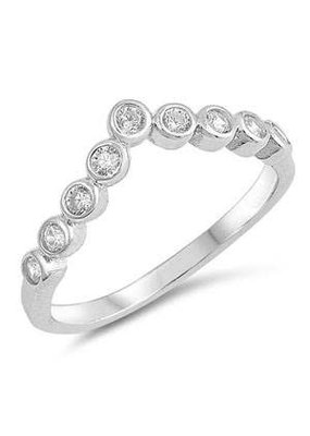 Sterling Silver V CZ Ring