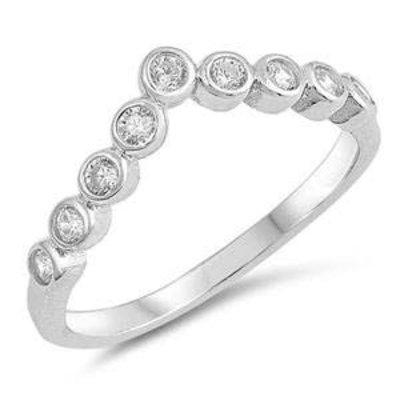 Sterling Silver V CZ Ring