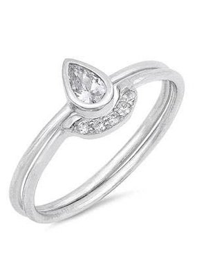 Sterling Silver Teardrop CZ Ring