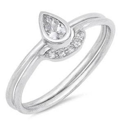 Sterling Silver Teardrop CZ Ring