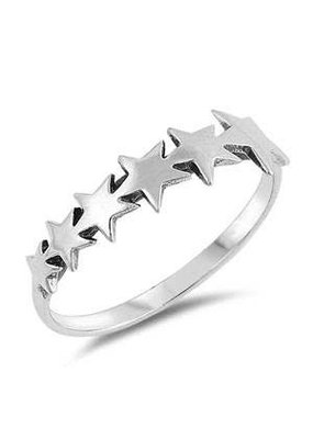 Sterling Silver Oxidized Stars Ring