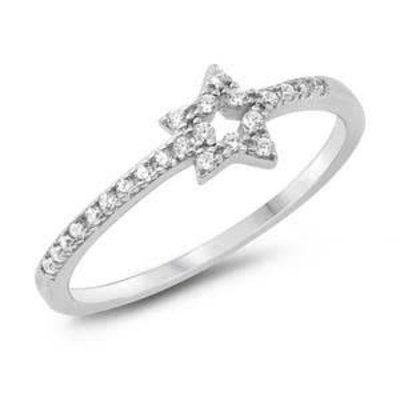 Sterling Silver Star CZ Ring