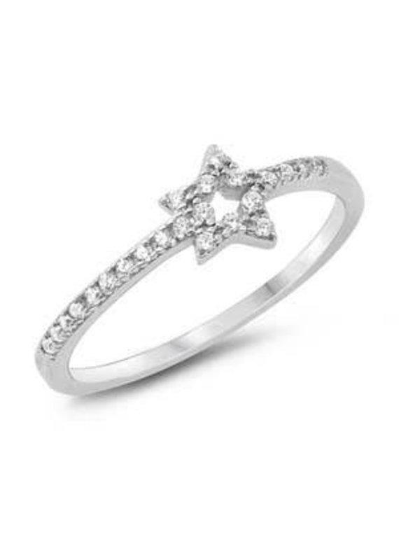 Sterling Silver Star CZ Ring
