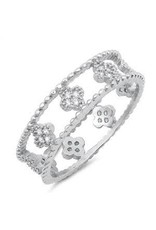 Sterling Silver Round Clover Ring