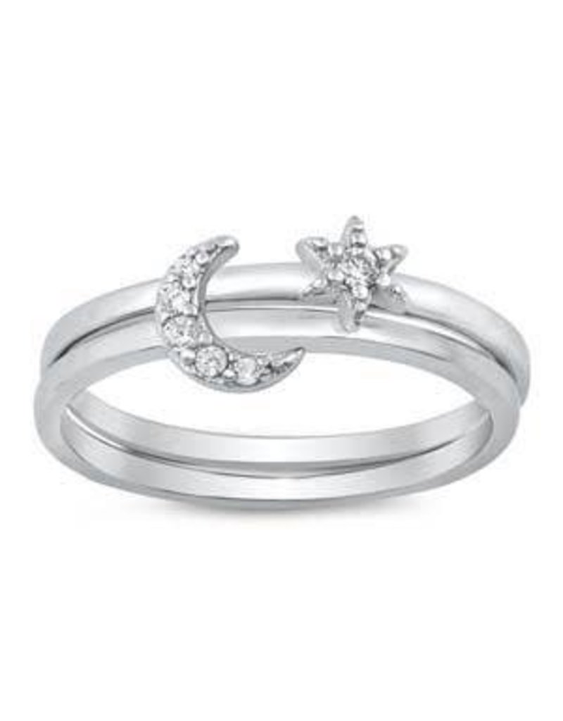 Sterling Silver Moon & Star CZ Ring