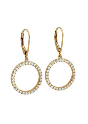 Sterling Silver Rose Gold CZ Eternity Circle Earrings