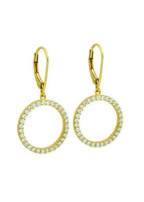 Sterling Silver Gold CZ Eternity Circle Earrings