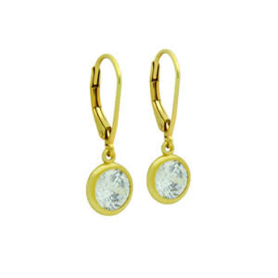 Sterling Silver Gold CZ Dangle Earrings