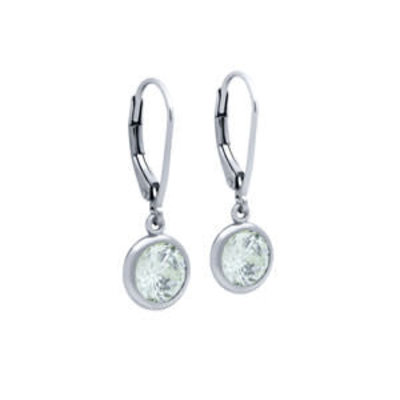 Sterling Silver Round CZ Dangle Earrings
