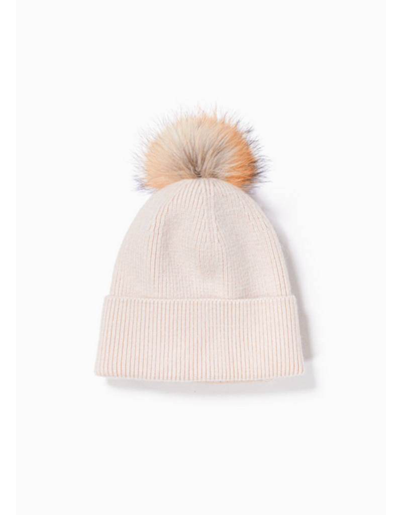 Look By M Ivory Cashmere Blended Ribbed Knit Pom Pom Beanie