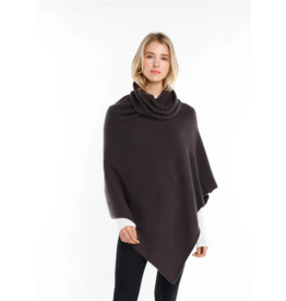 Look By M Charcoal Turtleneck Wrap Poncho